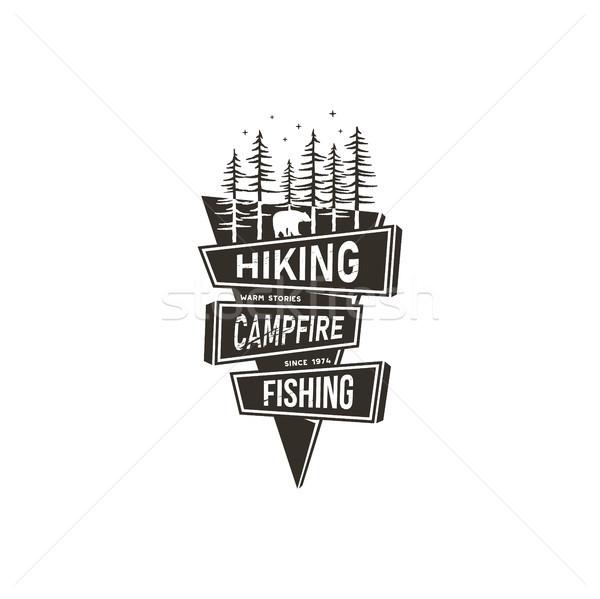 Vintage hand drawn travel badge design. Camping, hiking travel badge design concept in 70s style wit Stock photo © JeksonGraphics