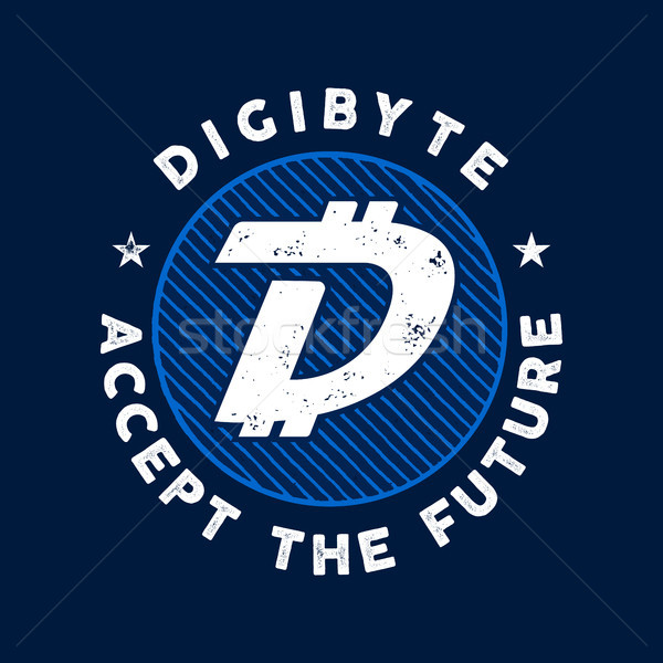 DGB Cryptocurrency Coin Sign. Digibyte accept the future emblem or badge. Crypto logo for any identi Stock photo © JeksonGraphics