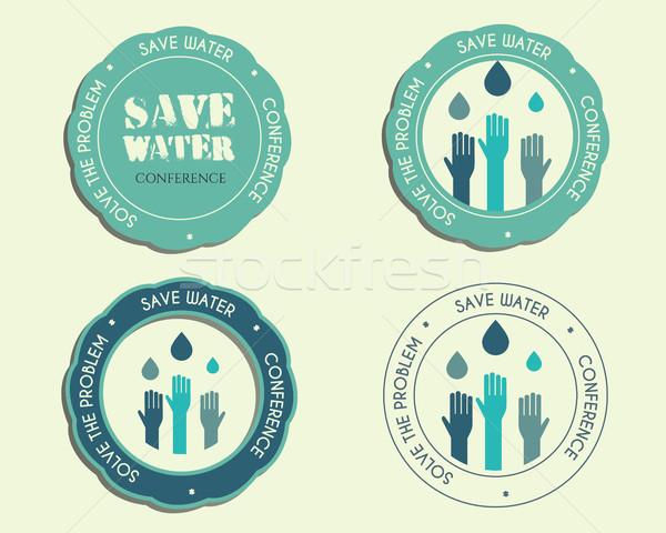 Opslaan water conferentie logo badge sjablonen Stockfoto © JeksonGraphics
