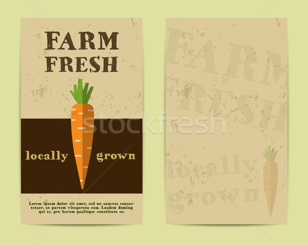 Stylish Farm Fresh flyer, template or brochure design with carrot. Mock up design with shadow. Best  Stock photo © JeksonGraphics