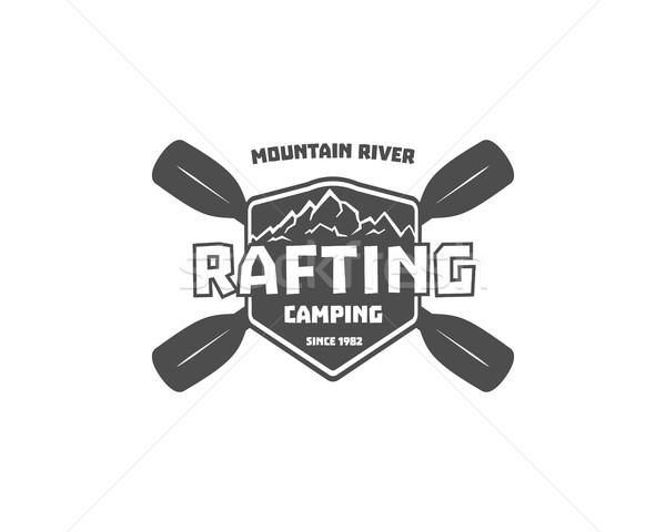 Vintage rafting, kayaking, canoeing camp logo, labels and badges. Stylish Monochrome outdoor design. Stock photo © JeksonGraphics