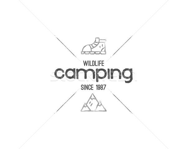 ストックフォト: ヴィンテージ · 山 · キャンプ · バッジ · 屋外 · ロゴ