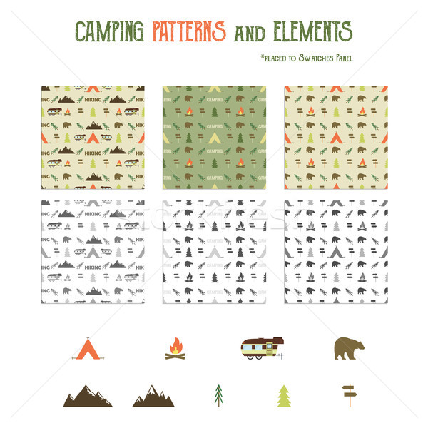 Kamp desen yürüyüş elemanları ayarlamak çadır Stok fotoğraf © JeksonGraphics