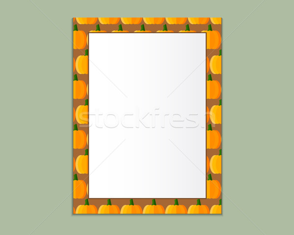 A4 Format paper design vector with text, picture frame and shadow. Organic and eco design. Pumpkin t Stock photo © JeksonGraphics