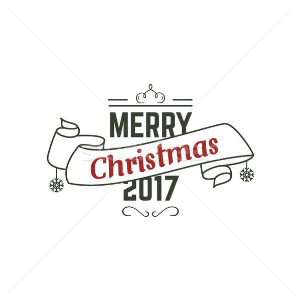 Heiter Weihnachten Typografie Zeichen Illustration Stock foto © JeksonGraphics