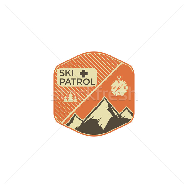 Camping Label Jahrgang Berg Ski Patch Stock foto © JeksonGraphics