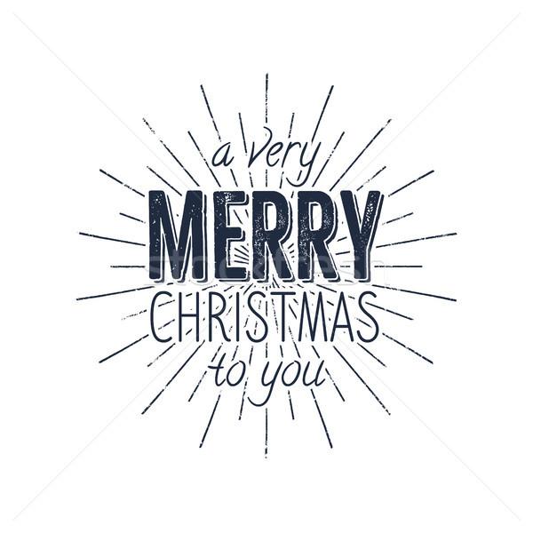 Avery Merry Christmas to you typography label. Retro photo overlay, badge. holiday lettering illustr Stock photo © JeksonGraphics