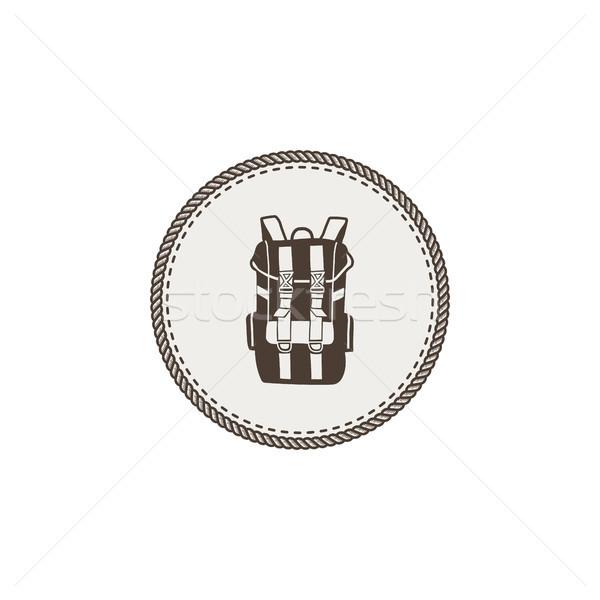 Mochila icono etiqueta vintage dibujado a mano Foto stock © JeksonGraphics