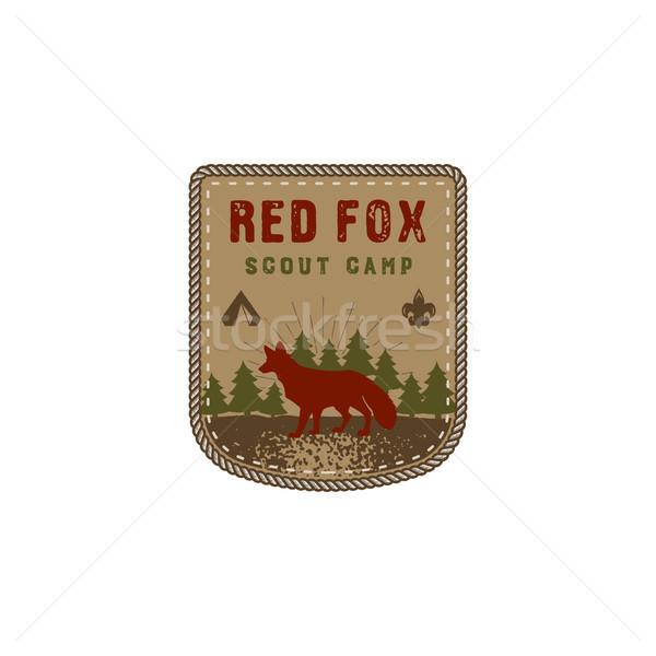 Wandelen club badge verkenner avontuur kamp Stockfoto © JeksonGraphics
