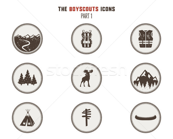 Boy scouts icons, patches. Camping stickers. Tent, moose, backpack, canoe and others. Stock vector i Stock photo © JeksonGraphics