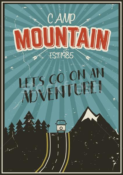 Retro estate inverno vacanze poster viaggio Foto d'archivio © JeksonGraphics