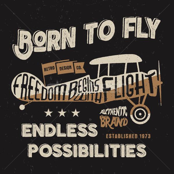 Vintage avião impressão velho escolas aeronave Foto stock © JeksonGraphics