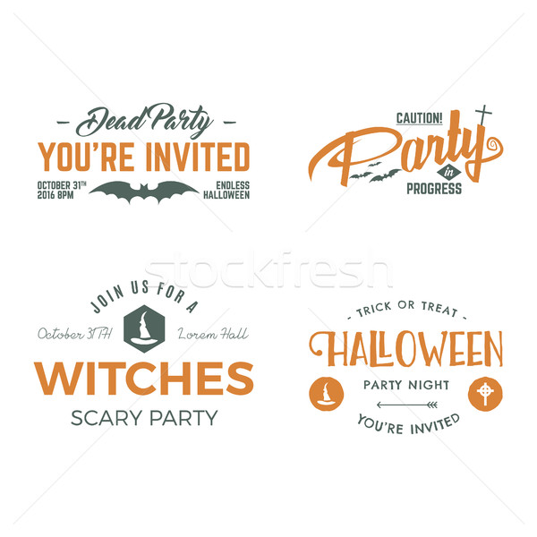 Halloween 2016 party invitation label templates with scary symbols - witch hat, bat and typography e Stock photo © JeksonGraphics