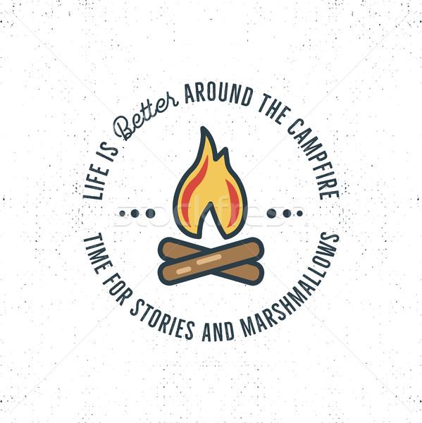 Kempingezés logoterv tipográfia utazás elemek máglya Stock fotó © JeksonGraphics