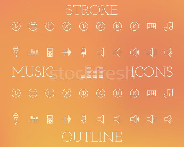 Stock fotó: Zene · skicc · ikon · szett · egyszerű · vékony · vonal