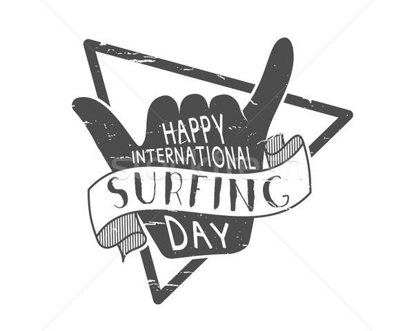 Stock photo: Summer surfing day tattoo design. Vacation monochrome design typography print emblem. Surfer party w