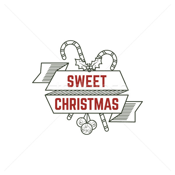 Sweet Christmas typography sign with candies, toys and ribbons. illustration of calligraphy label. U Stock photo © JeksonGraphics