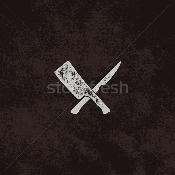 meat cleaver and knife symbols. Vintage steak house symbol. Letterpress effect with sunbursts. Old s Stock photo © JeksonGraphics