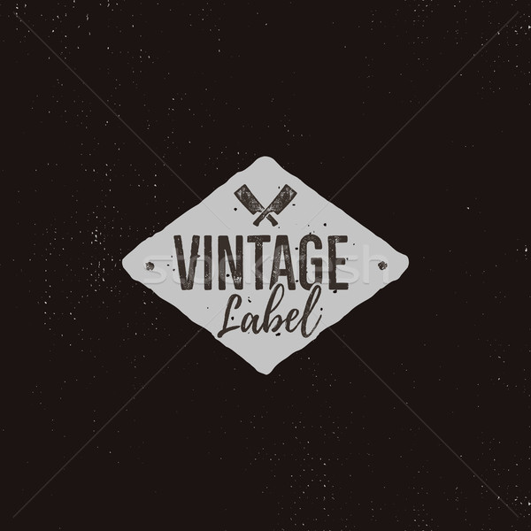 Vintage handcrafted label design. Letterpress effect with typography elements and steak knife cuts.  Stock photo © JeksonGraphics