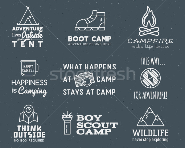 Camping logo design set with typography and travel elements - bonfire, mountain, tent.  adventure sa Stock photo © JeksonGraphics