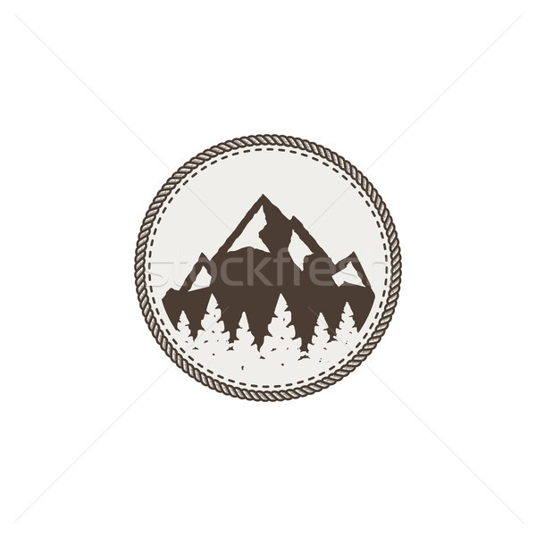 mountain patch and sticker. Vintage hand drawn outdoor adventure design. Mountains top, peak symbol. Stock photo © JeksonGraphics