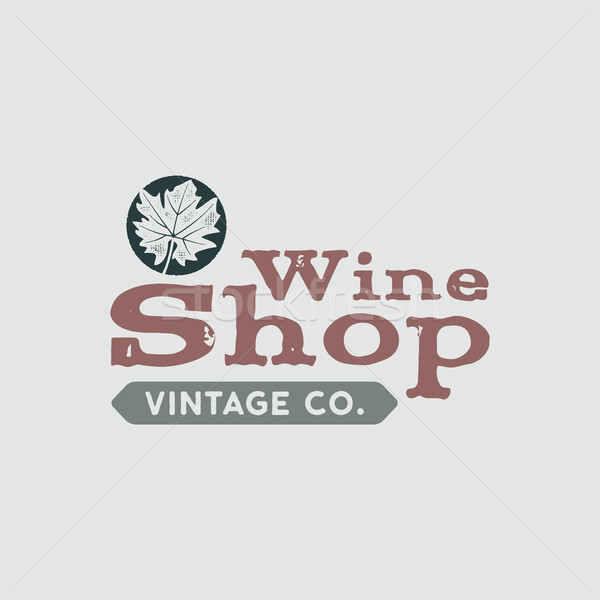 Wine logo, shop logotype, label. Vintage co poster sign. Typographic design illustration. Wine logo, Stock photo © JeksonGraphics