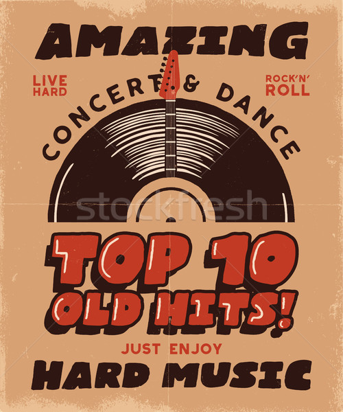 Hard Music Poster. Concert and Festival Tee Graphic Design. Retro music poster, festival invitation. Stock photo © JeksonGraphics