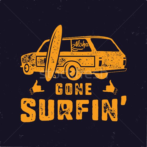 Klasszikus kézzel rajzolt nyár póló szörfözik szörf Stock fotó © JeksonGraphics