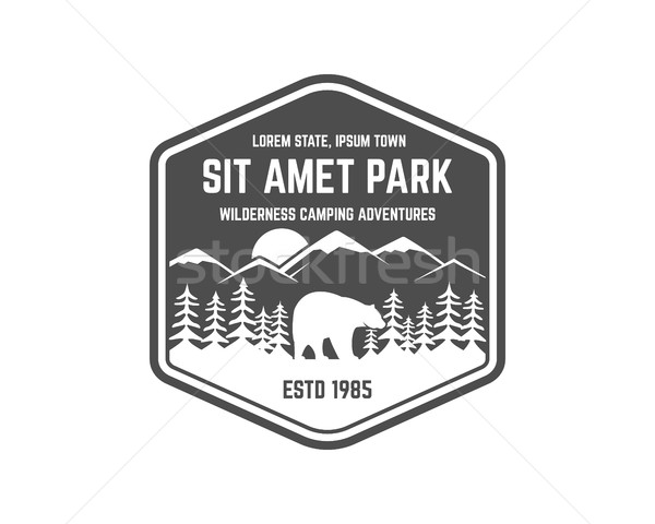 National park vintage badge. Mountain explorer label. Outdoor adventure logo design with bear. Trave Stock photo © JeksonGraphics