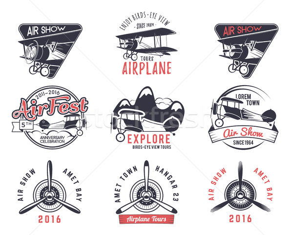 Vector old fly stamps. Travel or business airplane tour emblems. Biplane academy labels. Retro aeria Stock photo © JeksonGraphics