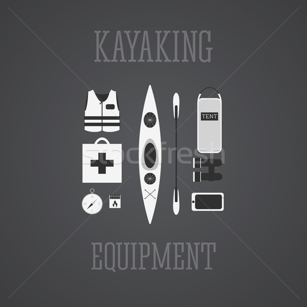 Kayak set kayak illustrazione Foto d'archivio © JeksonGraphics