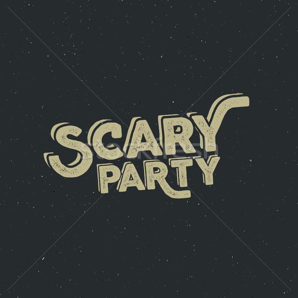 Halloween 2016 ijesztő buli tipográfia címke Stock fotó © JeksonGraphics