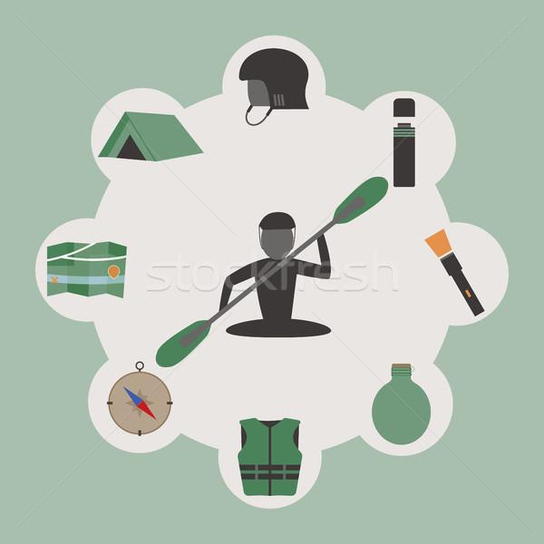Szabadtér infografika kempingezés kajakozás szokatlan terv Stock fotó © JeksonGraphics