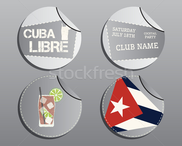 Summer cocktail party badges and labels layout template with Cuba flag and Cuba Libre cocktail. Fres Stock photo © JeksonGraphics