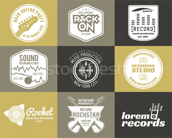 Set of music production logo Musical label icons. Stylish patch and emblem print or logotype Guitars Stock photo © JeksonGraphics