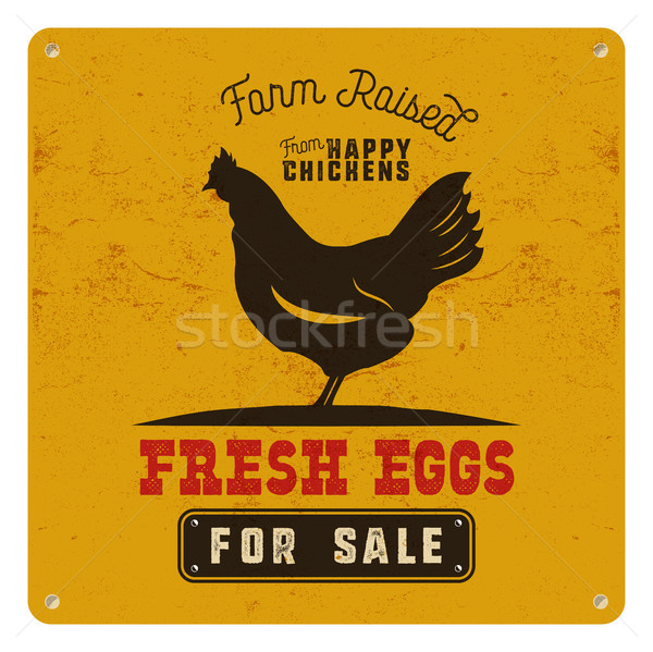 Farm fresh eggs poster, card on yellow vintage rusty metal background with chicken. Retro typography Stock photo © JeksonGraphics
