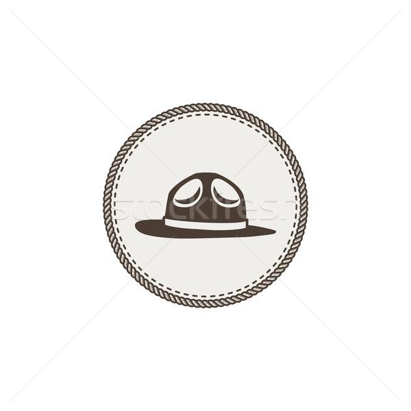 éclaireur chapeau vignette icône vintage dessinés à la main Photo stock © JeksonGraphics