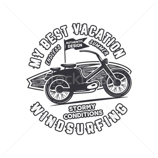 Klasszikus kézzel rajzolt windszörf szörfözik logo grafikai tervezés Stock fotó © JeksonGraphics