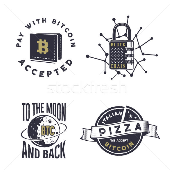 Blockchain, bitcoin, crypto currencies emblems and concepts set . Digital assets logos. Vintage hand Stock photo © JeksonGraphics