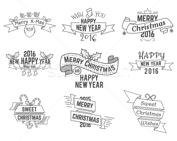 Christmas, New Year and Winter wishes ribbons collection with holiday symbols, elements for web, ins Stock photo © JeksonGraphics