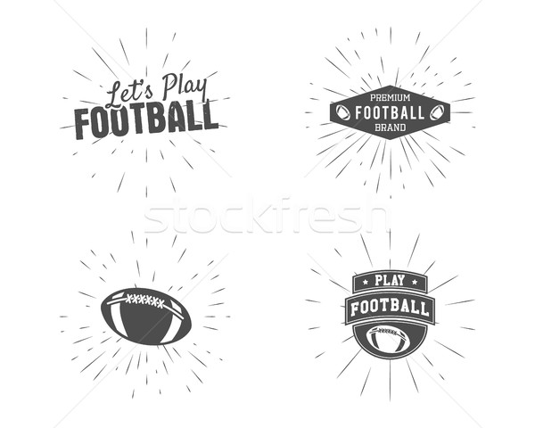 Set of vintage rugby and american football labels, emblems and logo designs with sunburst elements.  Stock photo © JeksonGraphics