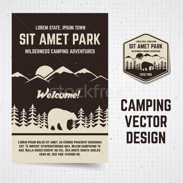 Camping vector brochure and label. The concept of flyer for your business, web sites, presentations, Stock photo © JeksonGraphics