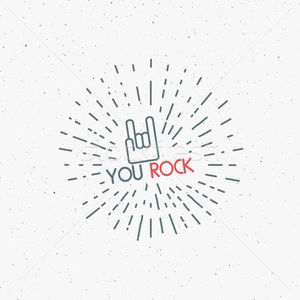 Renk poster kaya el işareti dövme bağbozumu Stok fotoğraf © JeksonGraphics
