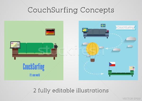 набор диване серфинга путешествия диван Сток-фото © JeksonGraphics