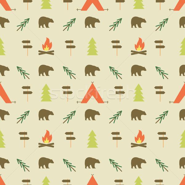 Camping elementi pattern senza soluzione di continuità wallpaper design Foto d'archivio © JeksonGraphics