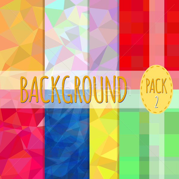 Set of polygonal backgrounds. 8 various backgrounds. Easy to resize and recolor Stock photo © JeksonGraphics