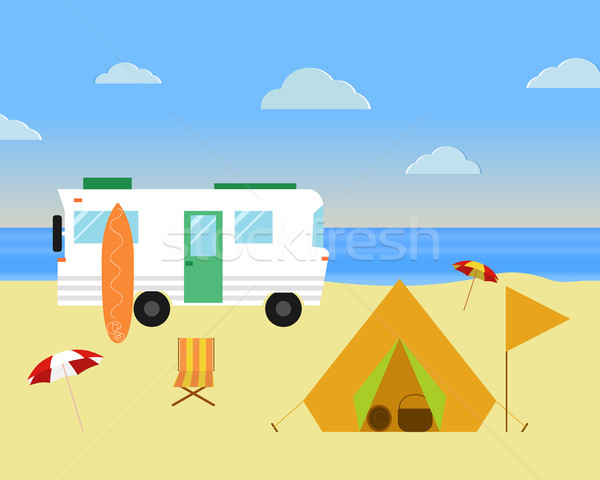 Vintage camping concept. Retro caravan, motorhome, rv on the beach, summer vacation, and holiday. Fl Stock photo © JeksonGraphics