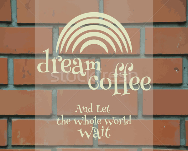 Dream Coffee Vintage Label, logo template, poster and banner.  Unique and stylish design. Rainbow sy Stock photo © JeksonGraphics