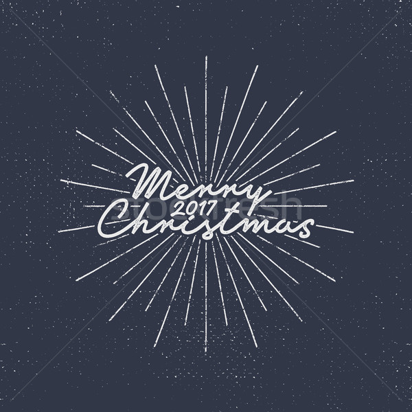 Merry Christmas 2017 lettering. Holiday typography Illustration. Letters composition with sun bursts Stock photo © JeksonGraphics