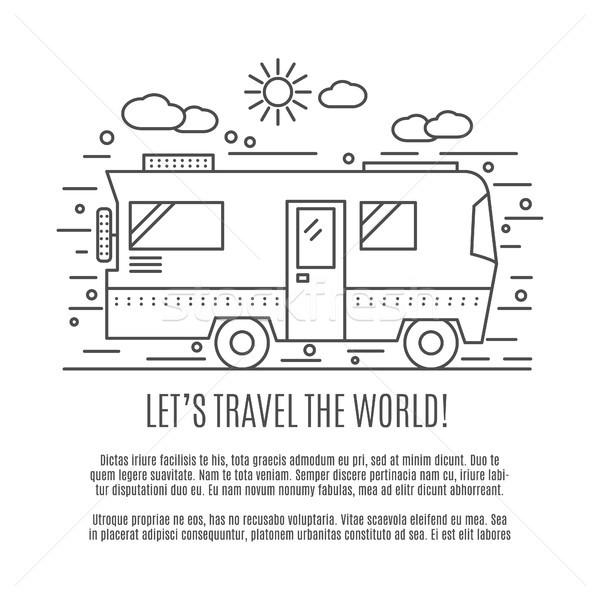 Thin line flat travelling concept. Design of camper rv car . Modern thin line travel vector illustra Stock photo © JeksonGraphics